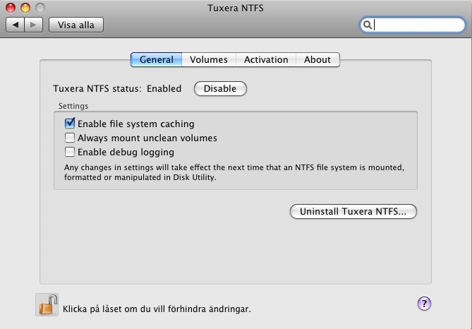 uninstall Tuxera NTFS