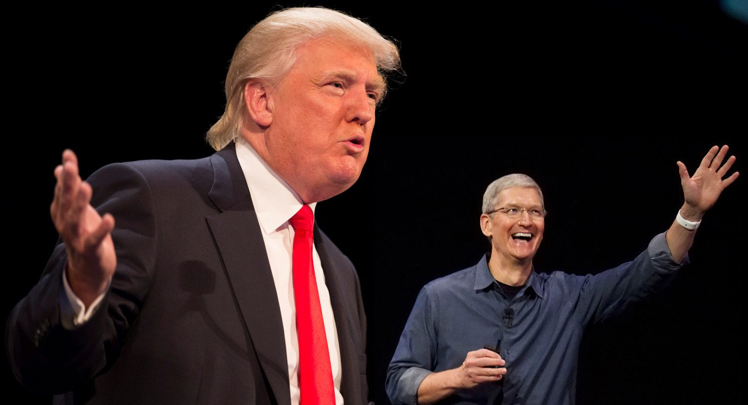 President Donald Trump and Tim Cook